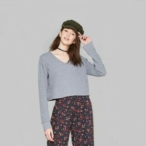 Wild Fable  Long Sleeve V-Neck Cropped Top XL NWT